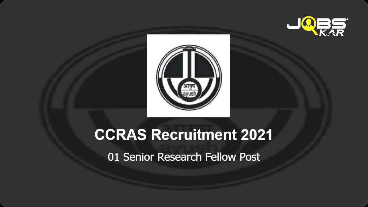 CCRAS Recruitment 2021: Apply Online for Senior Research Fellow Post