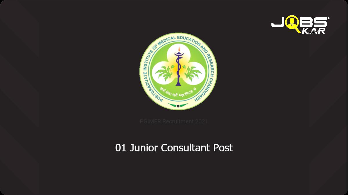 PGIMER Recruitment 2021: Apply Online for Junior Consultant (Epidemiology)  Post