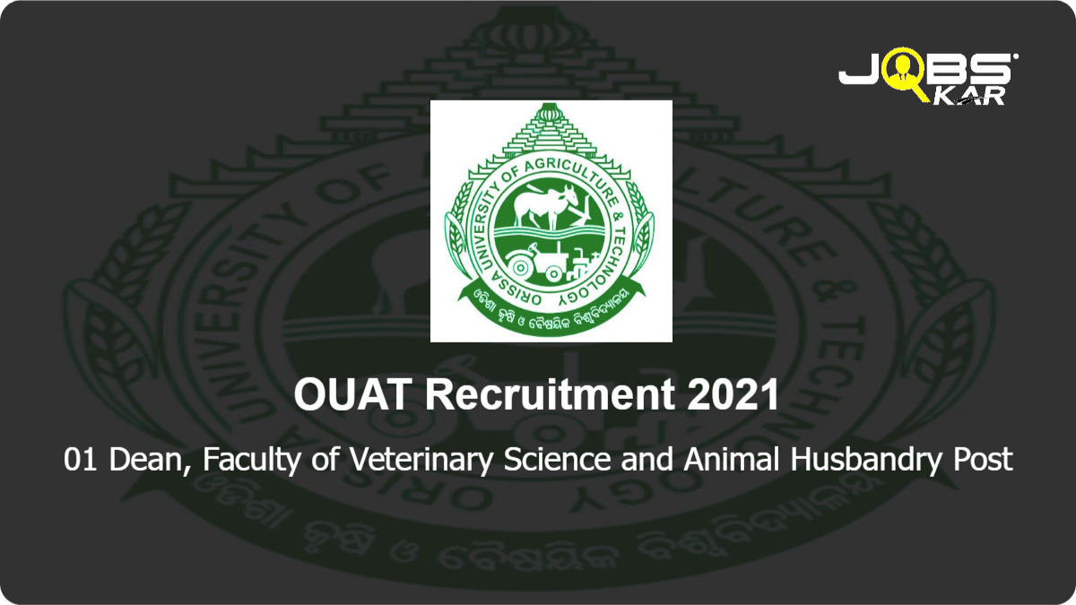 OUAT Recruitment 2021: Apply for Dean, Faculty of Veterinary Science and Animal Husbandry Post