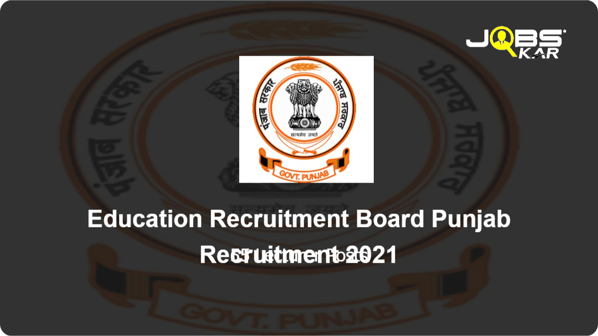 Education Recruitment Board Punjab Recruitment 2021: Apply Online for 55 Lecturer Posts